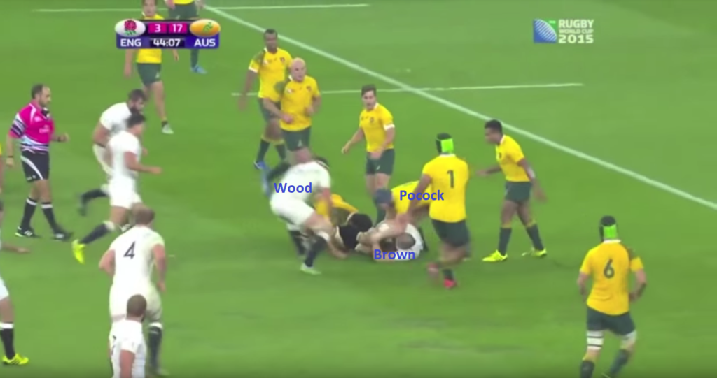 Screenshot 1 - Pocock has hands on the ball, no contact with Wood